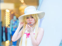Cosplayer as characters Shinobu from Bakemonagatari stock photos
