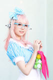 Cosplayer as characters Super Sonico from SoniAni : Super Sonic. Royalty Free Stock Images
