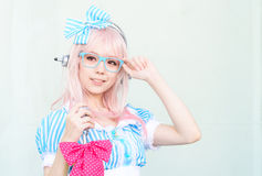 Cosplayer as characters Super Sonico from SoniAni : Super Sonic. Stock Photo