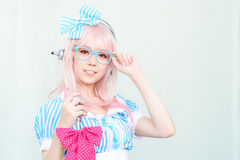 Cosplayer as characters Super Sonico from SoniAni : Super Sonic. Royalty Free Stock Photography