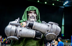 Cosplayer as Marvel character Doctor Doom. Sheffield, UK - June 04, 2017: Cosplayer dressed as Doctor Doom from Marvel Comics at the Yorkshire Cosplay Convention stock image