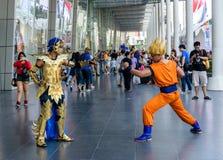 Cosplayer del santo Seiya y Dragonball Z Fotografía de archivo