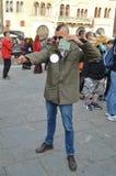 Cosplayer del soldado del taxista en los tebeos y los juegos 2014 de Lucca Fotos de archivo