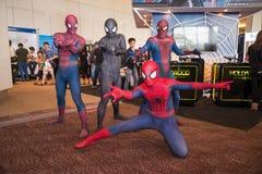 Cosplayer do homem-aranha Fotografia de Stock