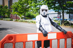 Cosplayer dressed as biker scout from Star Wars Stock Image