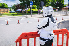 Cosplayer dressed as biker scout from Star Wars Stock Photo