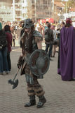 Cosplayer dressed as character Dovahkiin from game The Elder Scr. BRNO, CZECH REPUBLIC - APRIL 30, 2016: Cosplayer dressed as character Dovahkiin from game The Royalty Free Stock Image