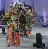 Cosplayer dressed as the character Haven Paladin. BRNO, CZECH REPUBLIC - APRIL 30, 2016: Cosplayer dressed as character Haven Paladin from game Might, Magic Stock Photos