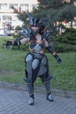 Cosplayer dressed as the character Neltharion , Deathwing. BRNO, CZECH REPUBLIC - APRIL 30, 2016: Cosplayer dressed as character Neltharion, Deathwing from game stock photos