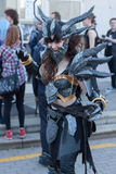 Cosplayer dressed as the character Neltharion , Deathwing. BRNO, CZECH REPUBLIC - APRIL 30, 2016: Cosplayer dressed as the character Neltharion, Deathwing from royalty free stock photography
