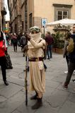 Rey at Lucca Comics and Games 2017. A cosplayer dressed as the character of Rey, from the Star Wars saga, walking in the streets of Lucca during the Lucca Comics Royalty Free Stock Image