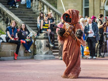 Cosplayer dressed as Jawa from Star Wars royalty free stock image