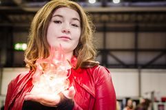 Cosplayer dressed as Marvel character Scarlet Witch Royalty Free Stock Image
