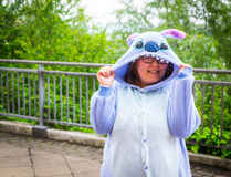 Cosplayer dressed as 'Stitch' from the Disney movie 'Lilo and St. Sheffield, UK - June 11, 2016: Cosplayer dressed as 'Stitch' from the Disney movie 'Lilo and royalty free stock image