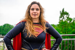 Cosplayer dressed as 'Supergirl' from DC Comics. Sheffield, UK - June 11, 2016: Female cosplayer dressed as 'Supergirl' from DC Comics at the Stock Image