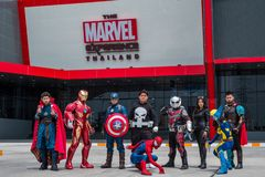 Cosplayer group are act in front of the Marvel Experience Thailand at Megabangna, Samut Prakan, Thailand. stock image