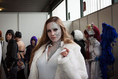 Cosplayer posing at Festival del Fumetto convention in Milan, Italy Stock Images