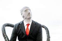 Cosplayer with red tie and anonymous face royalty free stock photos