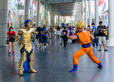 Cosplayer from Saint Seiya and Dragonball Z Stock Photography