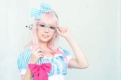 Cosplayer som tecken toppna Sonico från SoniAni: Toppna Sonic Royaltyfri Fotografi