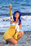 Cosplayer sur la plage de Poetto Photo stock