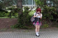 Cosplayer ubierał jako charakter od anime filmu Fotografia Royalty Free