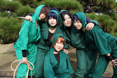 cosplayers女性日本ninja年轻人 免版税库存照片