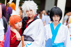 Cosplayers dress as the characters from cartoon and game Royalty Free Stock Image