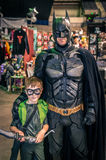 Cosplayers dressed as 'Batman' and 'Green Arrow' from DC Comics Royalty Free Stock Images
