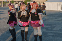Cosplayers dressed as characters from anime movie Stock Photography