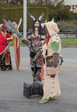 Cosplayers dressed as characters from game World of Warcraft. BRNO, CZECH REPUBLIC - APRIL 30, 2016: Cosplayers Lady Deathwing and Thrall from World of Warcraft stock photography