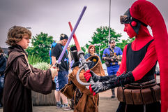 Cosplayers dressed as characters from `Star Wars` Royalty Free Stock Photo