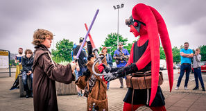 Cosplayers dressed as characters from `Star Wars` Royalty Free Stock Photos