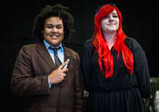 Cosplayers dressed as 'Doctor Who' and 'Amy Pond' from the tv se Stock Image
