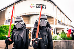 Cosplayers dressed as `Kylo Ren` from `The Force Awakens` stock image