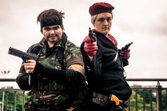 Cosplayers dressed as 'Solid Snake' (left) and 'Revolver Ocelot'. Sheffield, UK - June 11, 2016: Cosplayers dressed as 'Solid Snake' (left) and 'Revolver Ocelot stock photo