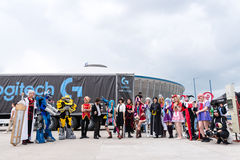 Cosplayers at East European Comic Con 2017. A group of cosplayers in comic book, science fiction and fantasy costumes at the East European Comic Con in Bucharest Royalty Free Stock Photo
