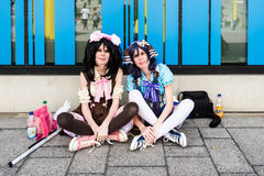 Cosplayers resting during Comic Con Germany in Stuttgart Royalty Free Stock Photo