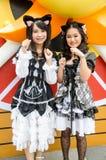Cosplayers som tecken Kuroneko av malm ingen Nai för gummin för Imouto gummiKonnani Kawaii vak i den Oishi världen Cosplay fantast Arkivfoton