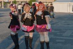 Cosplayers vestiu-se como caráteres do filme do anime Fotografia de Stock