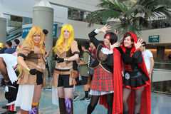 Cosplayers wearing costumes and fashion accessories at Anime Exp. Cosplay or Custume Play, a performance art in which participants called cosplayers wear Royalty Free Stock Photography