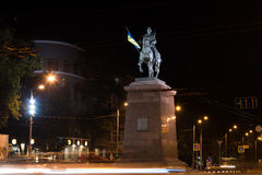 Cossack. A cossack bronze statue in kharkiv by night Royalty Free Stock Photography