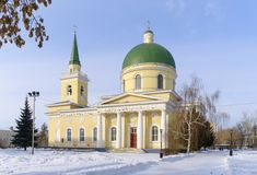 Cossack Cathedral, Omsk, Russia. Winter landscape with view of the Cossack Cathedral. Omsk, Russia Stock Photography