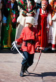 Cossack Dance. A Cossack dance performed by a young boy in Svetlogorsk Royalty Free Stock Image