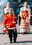 Cossack dance. Young boy performing a Cossack dance during a festival in Svetlogorsk,Russia Royalty Free Stock Photos
