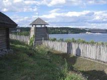 Cossack fortress on the island of Khortytsya. The restored Cossack fortress on the island of Khortytsya on the background of Zaporozhye hydroelectric Stock Image