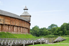 Cossack fortress from logs. Royalty Free Stock Photography