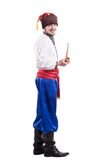 Cossack novo no vestido ucraniano nacional isolado no fundo branco Imagens de Stock Royalty Free