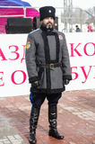 Cossack of the `Orenburg Cossack Host`, standing in cordon at a public event Royalty Free Stock Photography