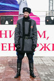 Cossack of the `Orenburg Cossack Host`, standing in cordon at a public event Stock Photos